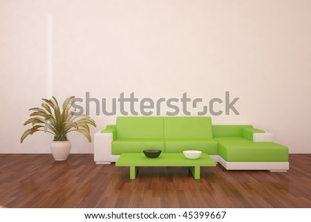 modern interior with green furniture