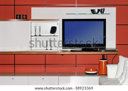 Modern interior with lcd tv