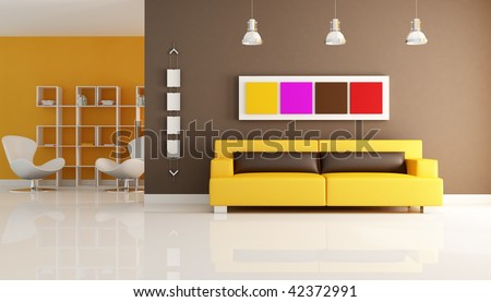 modern interior with leather couch and reading corner - rendering