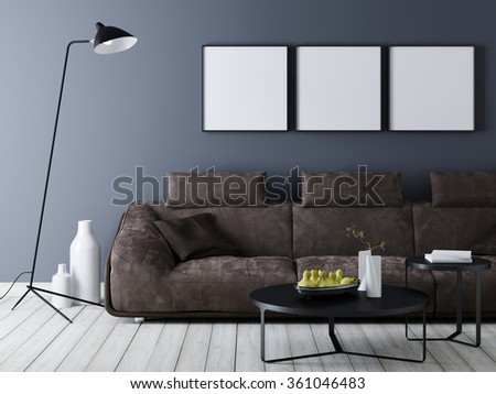 Modern interior with sofa poster mock up d illustration