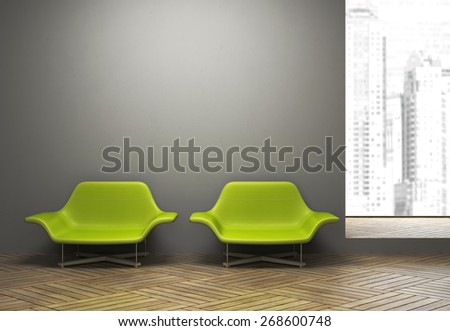 Modern interior with pair of green armchairs illustration 3D rendering