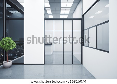 Modern interior with reception desk behind framed glass door, decorative plant and night city view. 3D Rendering