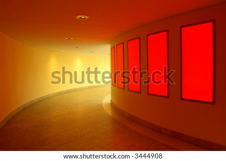 modern interior with red lightwall - stock photo