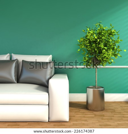 Modern interior with sofa and plant. 3D Illustration