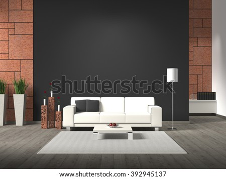 modern interior with sofa, corten steel and copy space