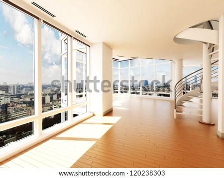 Modern interior with stair's overlooking a city