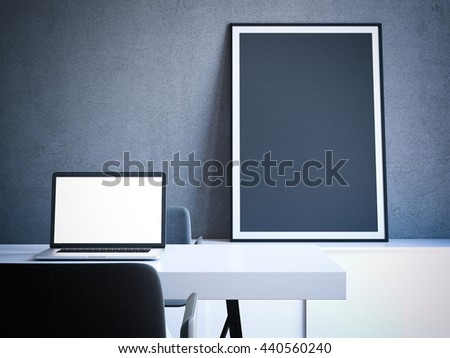 Modern interior with table and laptop. Blank frame on the shelf. 3d rendering - stock photo