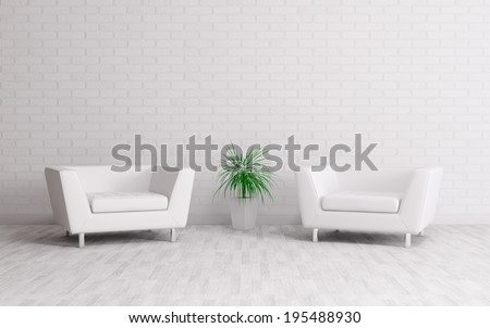 Modern interior with two armchairs over the white brick wall - stock photo