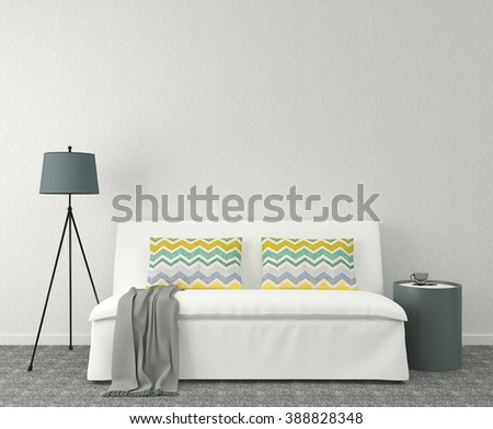 Modern interior with white couch near empty gray wall. 3d render.