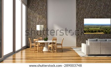 Modern interior with wooden chairs and tv. 3D illustration - stock photo