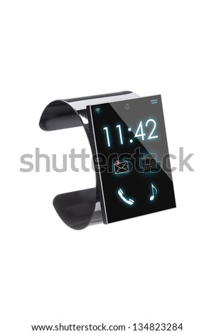 modern Internet Smart Watch isolated on white background  --  All Texts, Icons, Computer Interfaces where created from scratch by myself.
