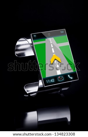 modern Internet Smart Watch on a black background  --  All Texts, Icons, Computer Interfaces where created from scratch by myself. - stock photo