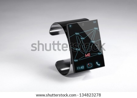 modern Internet Smart Watch on a grey background  --  All Texts, Icons, Computer Interfaces where created from scratch by myself. - stock photo