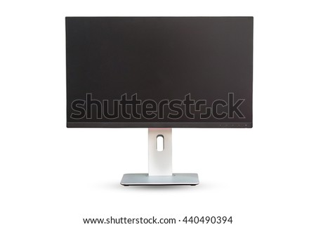 Modern ips computer monitor isolated on white background (blank screen). Clipping path inside. - stock photo