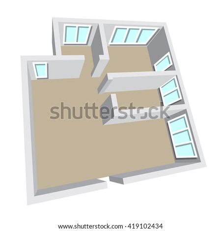 Modern isometric cottage interior. Isometric open plan house, apartment , part of architectural project Floorplan House Home Building Architecture Blueprint Layout plan. 3d illustration raster - stock photo