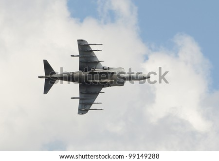 Modern jetfighter seen from below - stock photo