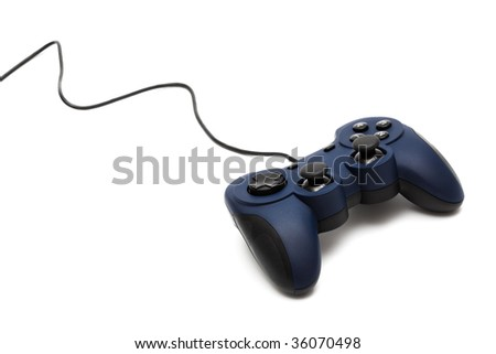 modern joystick for gaming on a white background - stock photo