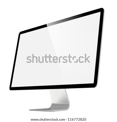 Modern 4k Widescreen Lcd Monitor. Isolated on White. - stock photo