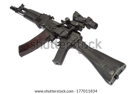 modern kalashnikov assault rifle on white