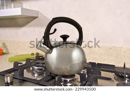 modern kettle on the stove