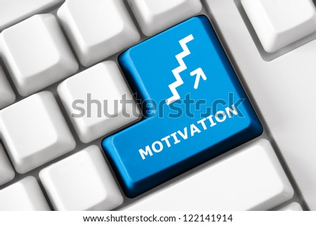 Modern keyboard Motivation text and stairs up symbol. Technology concept