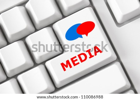 Modern keyboard with color bubble symbols and media text - stock photo