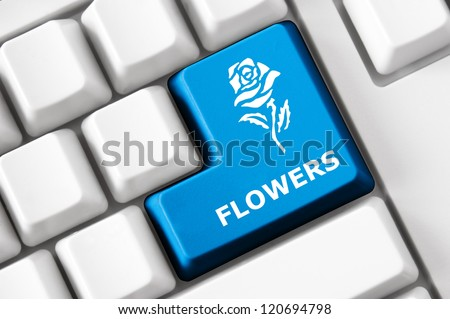 Modern keyboard with color button, rose image and flower text. Concept - stock photo