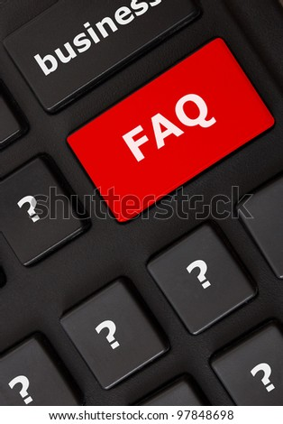 Modern keyboard with FAQ text and question mark symbols.FAQ concept - stock photo