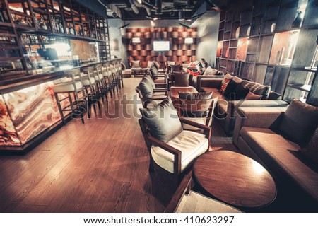 Modern Kiev's restaurant with with nice and bright interior