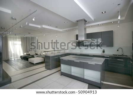 modern kitchen and living room in perspective - stock photo