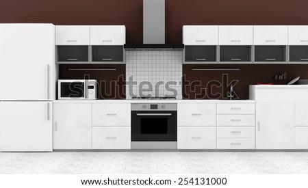 Modern Kitchen 3D Interior. 3D Rendering - stock photo
