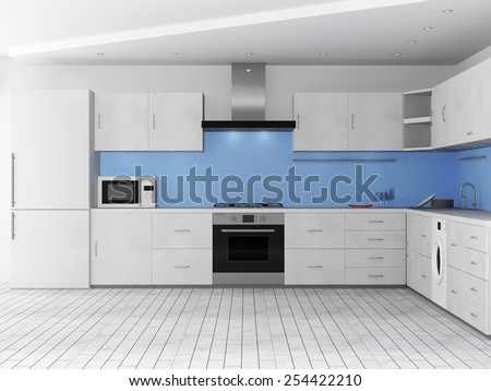 Modern Kitchen 3D Interior. 3D Rendering - stock photo
