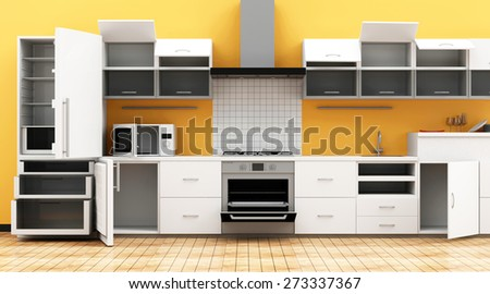 Modern Kitchen 3D Interior in Light Tones with Opened Furniture. 3D Rendering