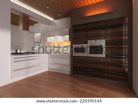 Modern Kitchen 3D Interior Rendering