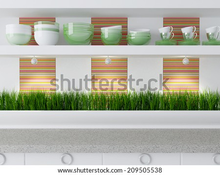 Modern kitchen design. Ceramic kitchenware on the shelf. - stock photo