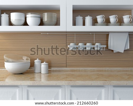 Modern kitchen design. White ceramic kitchenware on the marble worktop. Plates, cups on the shelf. - stock photo
