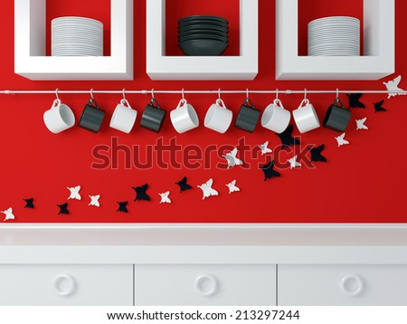 Modern kitchen design, white furniture and red wall. Ceramic kitchenware on the shelf. Butterfly decor on the wall. - stock photo
