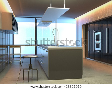 Modern kitchen in a studio setting (3D render)