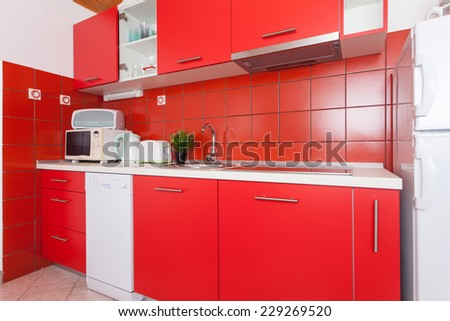 modern kitchen in an apartment - stock photo