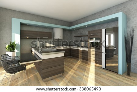 Modern Kitchen In Grey and Blue Colors - stock photo