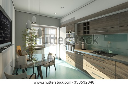 Modern Kitchen In Grey Colors 3d Rendering - stock photo