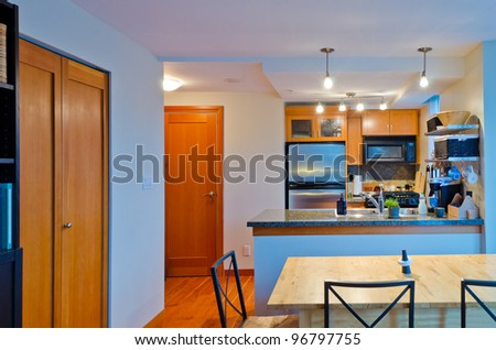Modern kitchen in luxury house in Vancouver, Canada. - stock photo