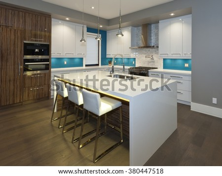 Modern kitchen in new luxury house - stock photo
