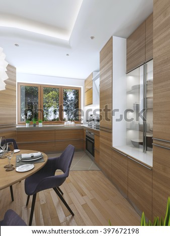 Modern kitchen in the dining room Contemporary style. Cuisine facades of light wood with a hood over the stove and built-in appliances. Metal working surface. 3D render.