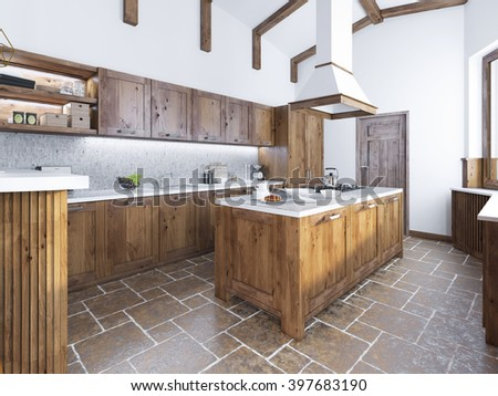 Modern Kitchen In The Loft Style. Kitchen Island With A Hood Over It.