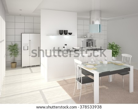 Modern kitchen in the style of minimalism, 3d rendering. - stock photo