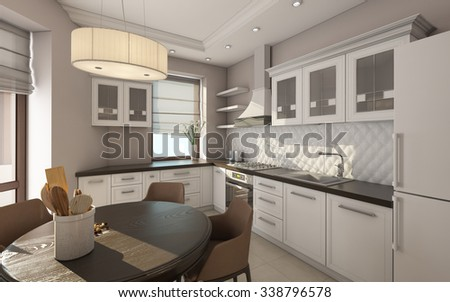 Modern Kitchen In White Color 3D Rendering