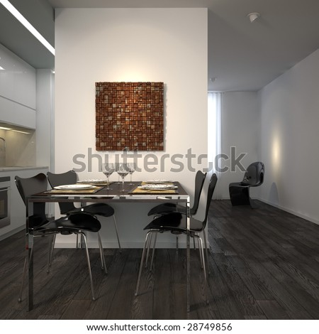 Modern kitchen in white minimalist apartment (3D render - all visible art self-modeled) - stock photo