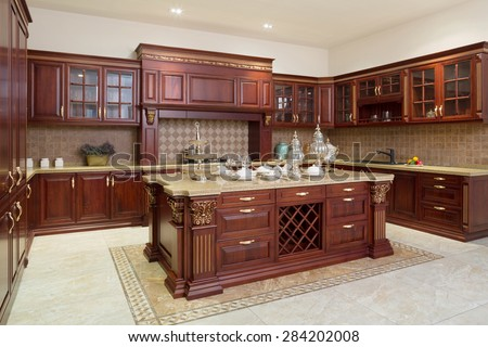 Modern kitchen interior and furniture - stock photo