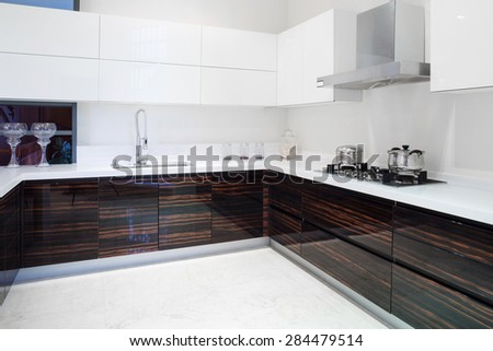 Modern kitchen interior and furnitures - stock photo